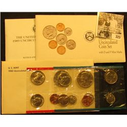 1980, 1989 & 1982 U.S. Mint Sets, all original as issued.