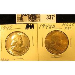 1948 P & D Franklin Silver Half Dollars, AU-BU.