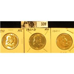 1951 P, D, & S Franklin Silver Half Dollars, VF-AU.
