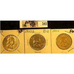 1953 P, D, & S Franklin Silver Half Dollars, F-AU.