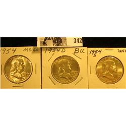 1954 P, D, & S Franklin Silver Half Dollars, all BU to Gem BU.