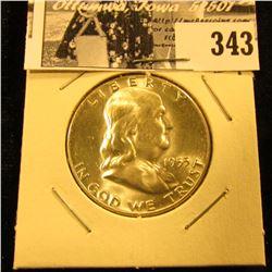 1955 P Franklin Silver Half Dollar, BU.