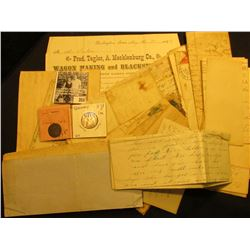 Group of Old letters, envelopes, and invoices dating back to 1856; early German States Silver Coin;