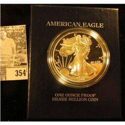 1999 P Proof Silver American Eagle One Ounce .999 Fine Silver Dollar in original box with literature