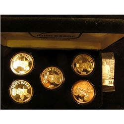 "Five-piece Set One Ounce .999 Fine Silver Medallions ""John Deere 530"", ""John Deere 630"", ""John Deere"