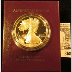 1992 S U.S. Proof Silver American Eagle One Ounce .999 fine Silver Dollar in original box of issue w