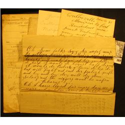 "Mid to late 1800 era Abstracts, legal papers, letters, & etc. including an 1866 letter to ""Dear Frie"