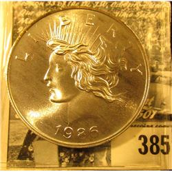 """1986"" Peace Dollar Design ""Silver Trade Unit One Troy Oz. .999 Fine Silver""."