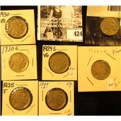 1929D, S, 30P, S, 34P, D, & 35P Buffalo Nickels. VG-Fine.