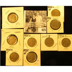 1929S, 30P, S, 34P, D, 35P, D, S, & 38D Buffalo Nickels, all carded with grades up to VF.