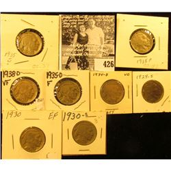 1929S, 30P, S, 34D, 35P, D, S, & 38D Buffalo Nickels, all carded with grades up to VF.