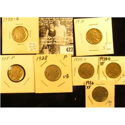 1928P, 29S, 30P, S, 35P, 36P, & 38D Buffalo Nickels,  all carded with grades up to VF.