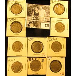 1927D, S, 28P, D, S, 29P, D, S, 30P, & 38D  Buffalo Nickels,  all carded with grades up to VF.