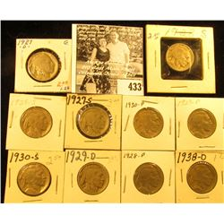 1927D, S, 28P, S, 29P, D, S, 30P, S, & 38D  Buffalo Nickels,  all carded with grades up to VF.