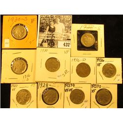 1928P, S, 30P, S, 36P, D, S, 37P, D, & S Buffalo Nickels,  all carded with many grading up to VF-EF.