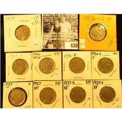 1928S, 29P, 30P, S, 36P, D, S, 37P, D, & S Buffalo Nickels,  all carded with grades up to VF-EF.