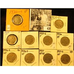 1928S, 29P, D, 30S, 36P, D, S, 37P, D, & S Buffalo Nickels,  all carded with grades up to VF-EF.