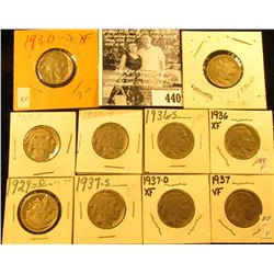 1929P, D, S, 30S, 36P, D, S, 37P, D, & S Buffalo Nickels,  all carded with grades up to VF-EF.