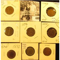 Group of Carded Indian Head Cents: 1892, 93, 95. 96, 97, 99, 1900, & 01.