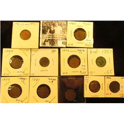 Group of Carded Indian Head Cents: 1892, 93. 96, 97, 99, 1901, 02, 03, 04, 05, & 06. Grades up to Fi