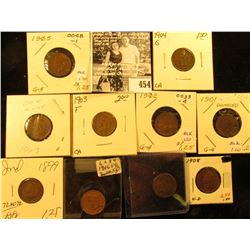 Group of Carded Indian Head Cents: 1893, 99, 1901, 02, 03, 04, 05, 06, 07, & 08. Grades up to Extra