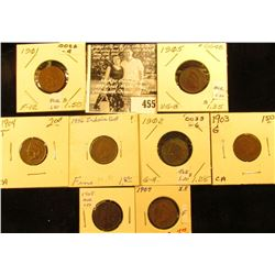 Group of Carded Indian Head Cents: 1901, 02, 03, 04, 05, 06, 07, & 08. Grades up to Extra Fine.