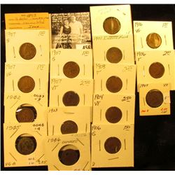 Group of Carded Indian Head Cents: 1893, 1902, 03, 04, 05, (4) 06, (7) 07, & 08. Grades up to Very F