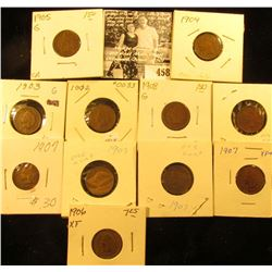 Group of Carded Indian Head Cents: 1902, 04, 05, 06 (EF), (5)07 (includes 1 EF), & 08. Grades up to