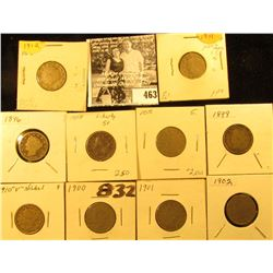 1896, 97, 98, 99, 1900, 01, 02, 10, 11, & 12 U.S. Liberty Nickels in carded holders.