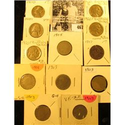 1897, 1901, (4) 1903, 05, 1920 S, (2) 21 P, 39 S, & 57 D U.S. Nickels in carded holders.