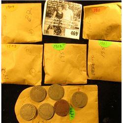 (6) 1899, (3) 1901, (7) 02, (10) 03, (7) 04, & (15) 1911 U.S. Liberty Nickels.