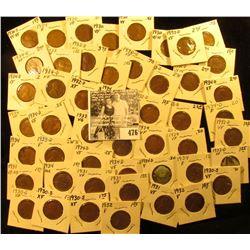 (5) 1930P, (6) S, (5) 31P, (3) 32P, (6) 32D, (2) 33P, (4) D, (9) 34P, & (9) D Lincoln Cents. Lots of