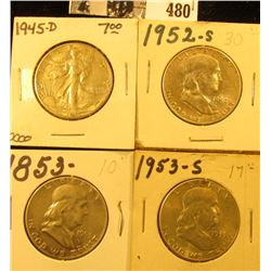 1945 D VF, 52 S EF, 53 P VG, & 53 S Choice AU U.S. Silver Half Dollars. All carded and ready for sal