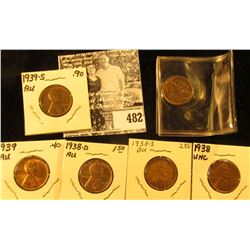 1935 S AU, 38 P Unc, 38 D AU, 38 S Red-Brown Unc, 39 P AU, & 39S AU Lincoln Cents. All carded and re