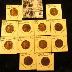 1937P AU, (2) 39P Unc, 40P BU, D AU, S BU, 41P Unc, (2) D Unc, 41S Unc, 42D Brown AU-Unc, & 42S Linc