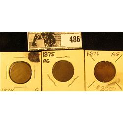 1874, 1874, & 1876 Inidian Head Cents, AG-G. All carded for sale.