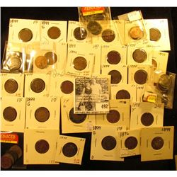 (7) 1892, (4) 1893, (2) 1896, (14) 1898, & (16) 1899 Indian Head Cents, all carded and ready for sal