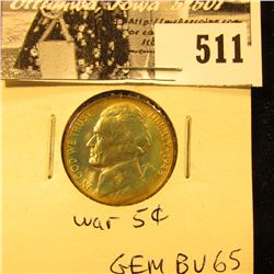 1945 P Silver War Nickel. GEM BU 65.