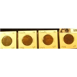 Lot of Canada Large Cents: 1913, 16, 17, & 19. All grading VF.