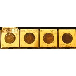Lot of (4) 1871 Prince Edward Island Cents, 2-VG, 2-Fine.