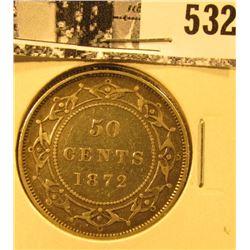 1872H Newfoundland Silver Half Dollar, Very Fine.