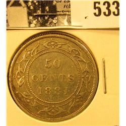 1881 Newfoundland Silver Half Dollar, Very Fine.