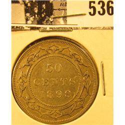 1898 Newfoundland Silver Half Dollar, Extra Fine.