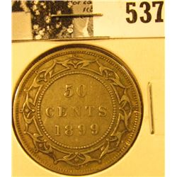 1899 Newfoundland Silver Half Dollar, narrow nines variety, VF.