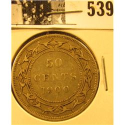 1900 Newfoundland Silver Half Dollar, VF.