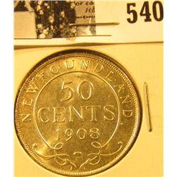 1908 Newfoundland Silver Half Dollar, Choice BU 63.