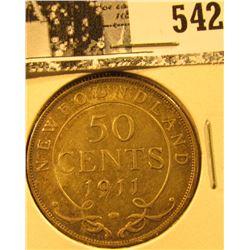 1911 Newfoundland Silver Half Dollar, VF.