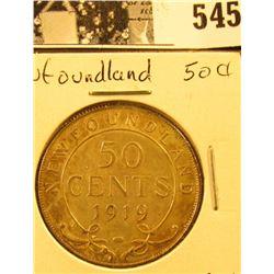 1919C Newfoundland Silver Half Dollar, AU.