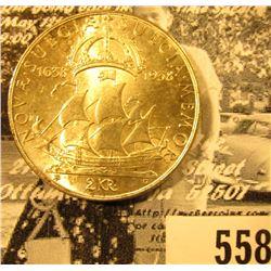 1638-1938 Sweden Silver 2 Kronors Gustavus V Rex Nova Scotia, Lightly toned BU.