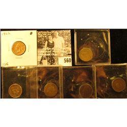 1859 Good, 1862 Fine, 1863 Fine, 1883 AG, 1888 Good, & 1902 Good Indian Head Cents.